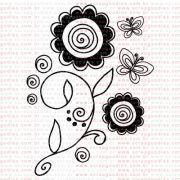 237 - Ramo com flores e borboletas