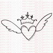 239 - Coração alado com coroa