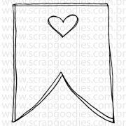 742 - Bandeirola com coraçãozinho