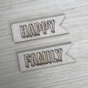 Aplique de bandeirinha Happy / Family madeirinha