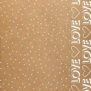 kraft decorado - a4 (tamanho 21x29,7cm) - estampa de LOVE / pontinhos