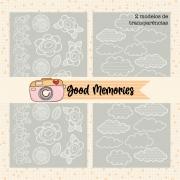LINHA GOOD MEMORIES - KIT 2 TRANSPARÊNCIAS (nuvem e flores)