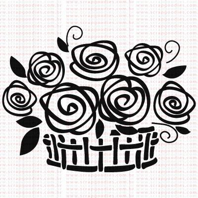 370 - Cesta com Flores  - SCRAP GOODIES