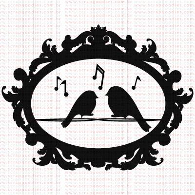 386 - Moldura com passarinhos cantando  - SCRAP GOODIES