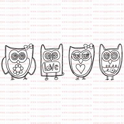 407 - Família de corujas  - SCRAP GOODIES