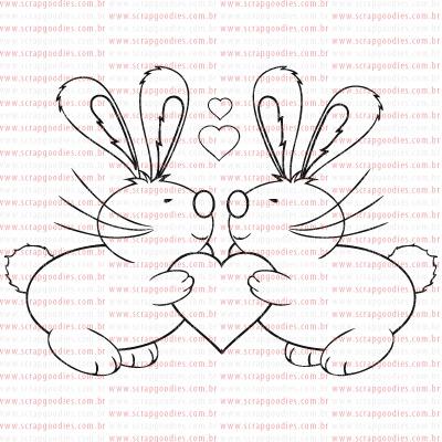 PASCOA - carimbo coelhos se beijando  - SCRAP GOODIES