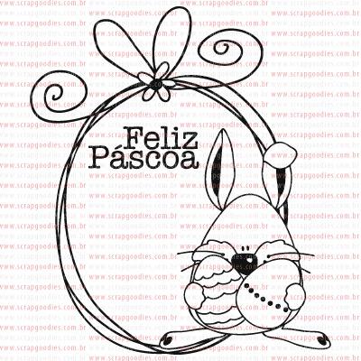 PASCOA - carimbo tag grande de coelho com ovos  - SCRAP GOODIES