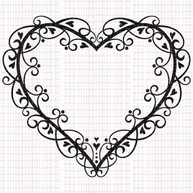 421 - Moldura Coração com doodles  - SCRAP GOODIES