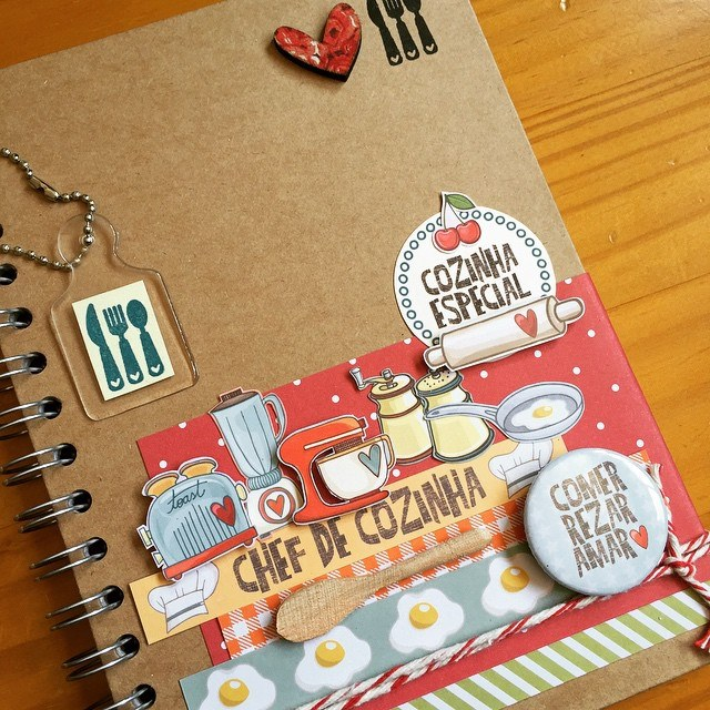 Caderno decorado PRONTO de receitas  - SCRAP GOODIES