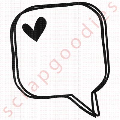 549 - Balãozinho quadrado com coração  - SCRAP GOODIES