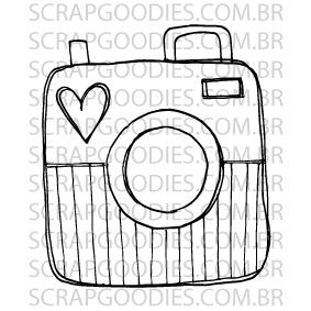 592 - Câmera fotográfica listradinha  - SCRAP GOODIES