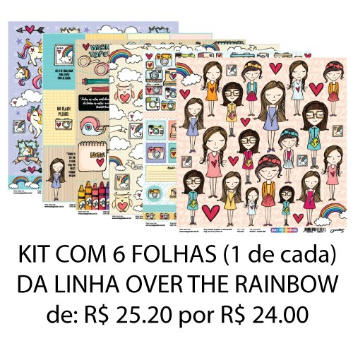 KIT 6 Papéis - linha Over The Rainbow  - SCRAP GOODIES