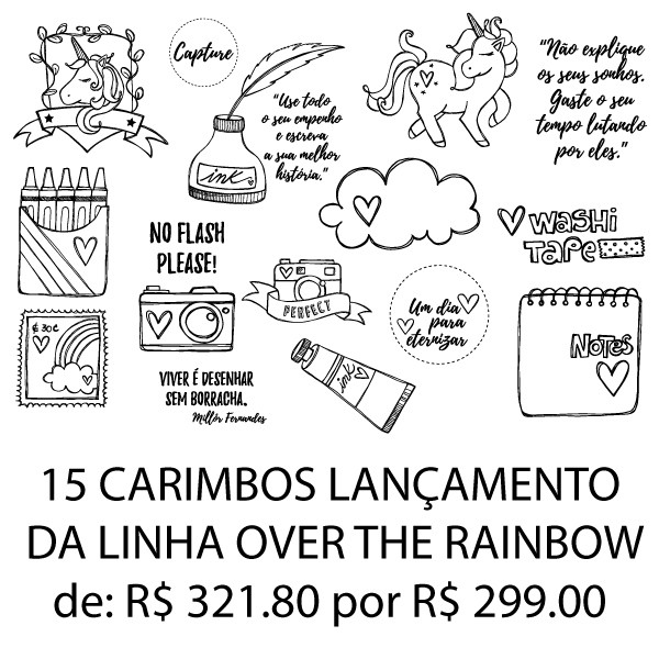 Kit carimbos - 15 carimbos OVER THE RAINBOW  - SCRAP GOODIES