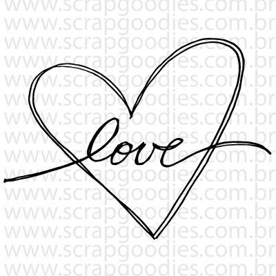 740 - Love manuscrito com coração  - SCRAP GOODIES