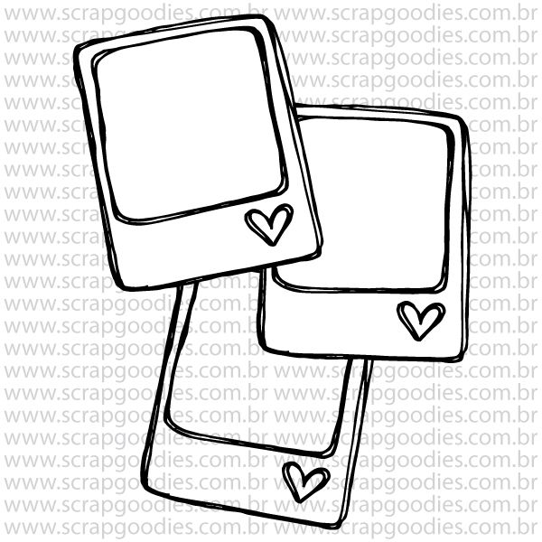 802 - 3 Polaroids com coraçõezinhos  - SCRAP GOODIES