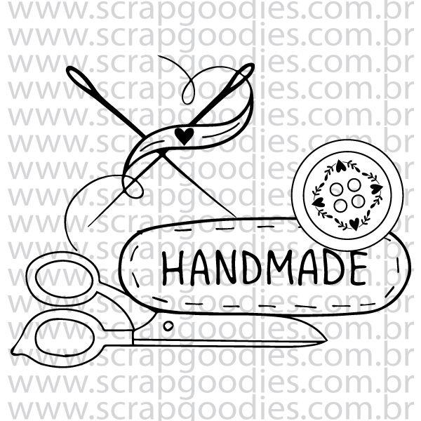 834 - Handmade (tesoura, agulha, botão)  - SCRAP GOODIES