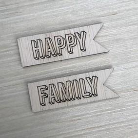 Aplique de bandeirinha Happy / Family madeirinha  - SCRAP GOODIES