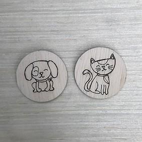 Apliques de cachorrinho e gatinho em madeirinha  - SCRAP GOODIES