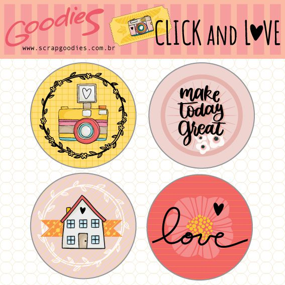 Buttons Click & Love modelo 1  - SCRAP GOODIES