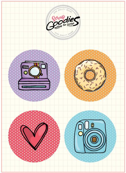 Buttons COR E CORES -  modelo 1 - 4 UNIDADES  - SCRAP GOODIES