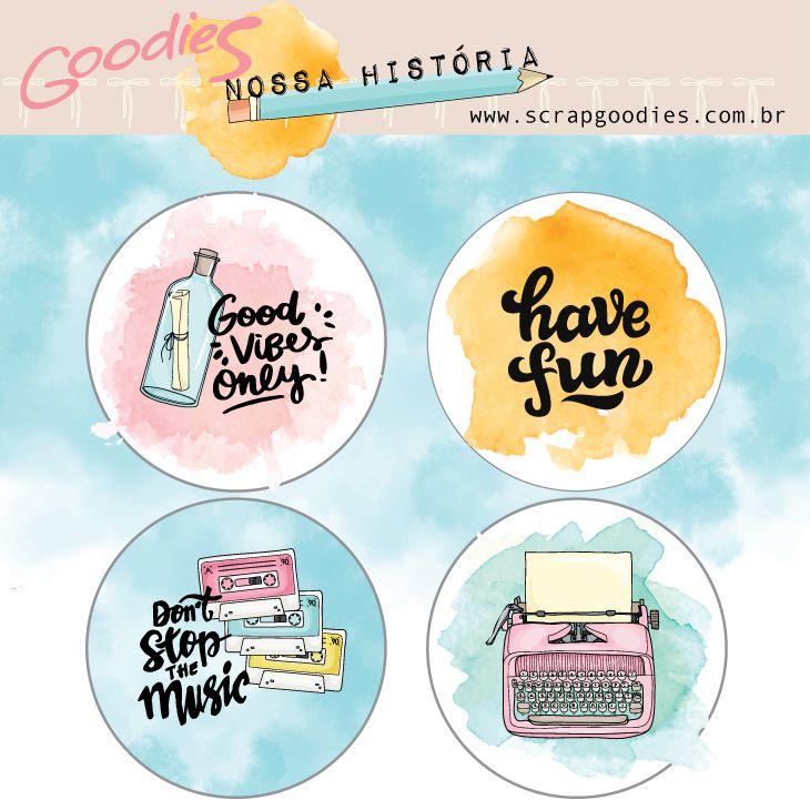buttons Nossa História  - SCRAP GOODIES