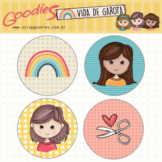 buttons Vida de Garota modelo 2  - SCRAP GOODIES