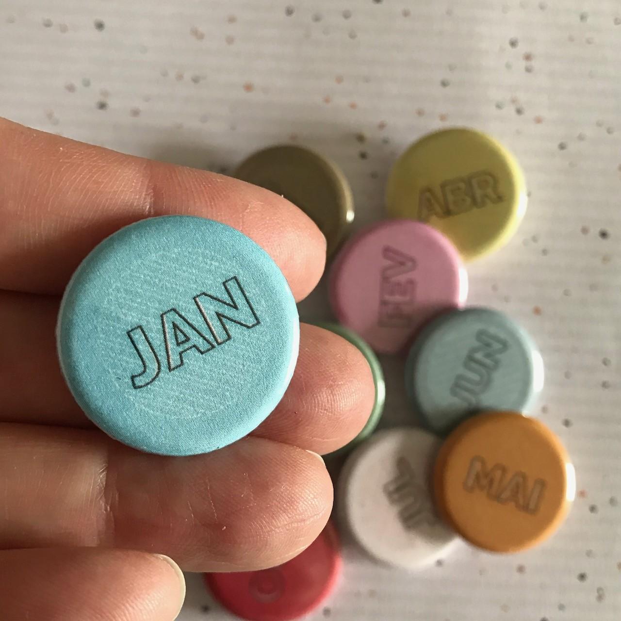 Buttons Viva seu Momento -  12 Meses   - SCRAP GOODIES