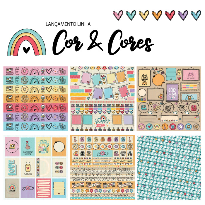 KiT 6 Papéis - linha COR E CORES   - SCRAP GOODIES