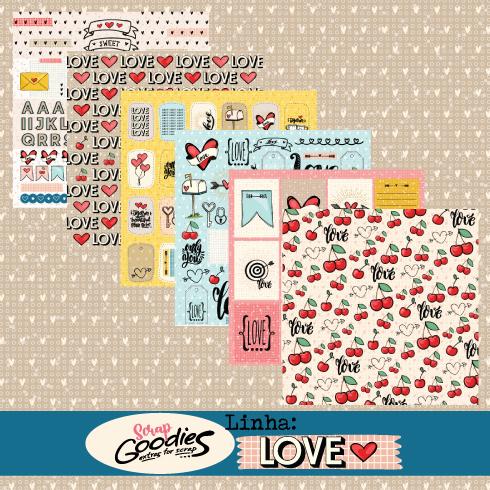 KiT 6 Papéis - linha LOVE  - SCRAP GOODIES