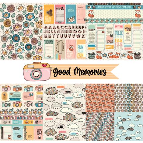 kit com 6 papéis GOOD MEMORIES  - SCRAP GOODIES