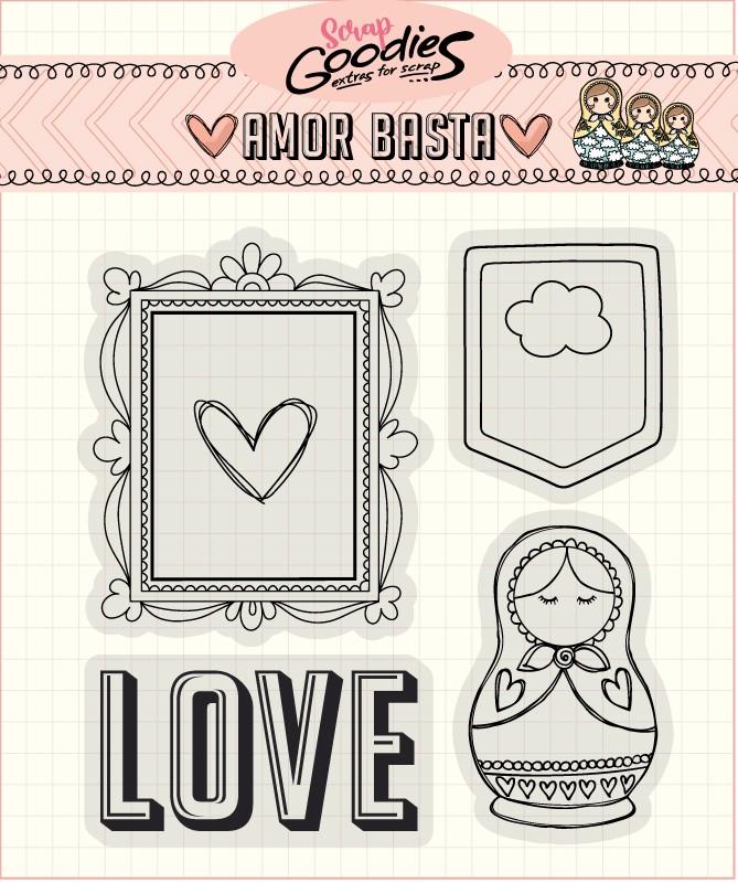 Clear Stamp Amor Basta - Moldura e Matrioska  - SCRAP GOODIES