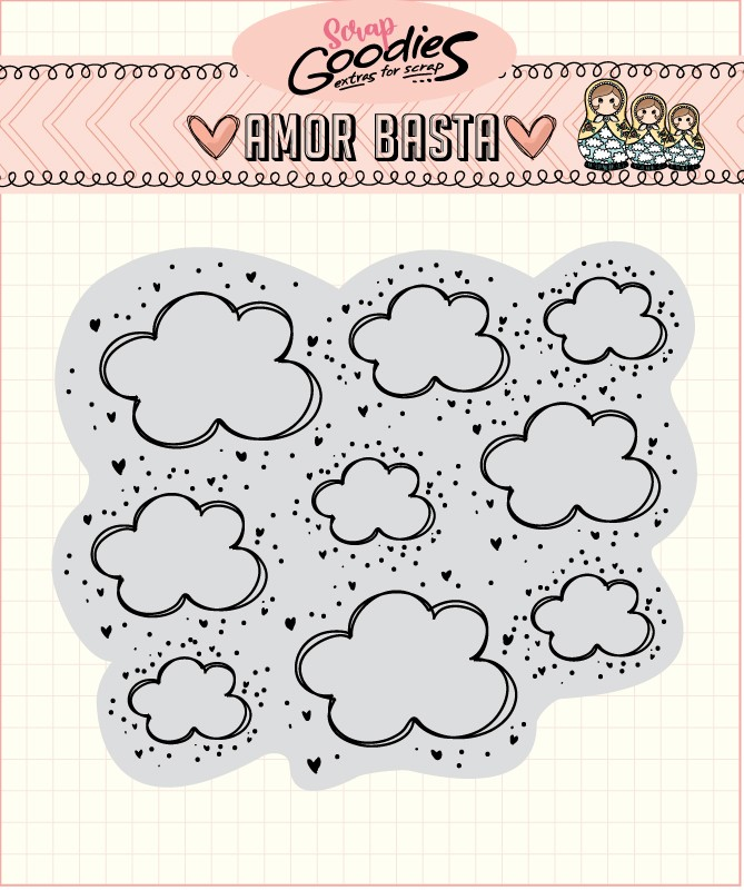 LANÇAMENTO!!! Clear Stamp Amor Basta - Nuvens  - SCRAP GOODIES