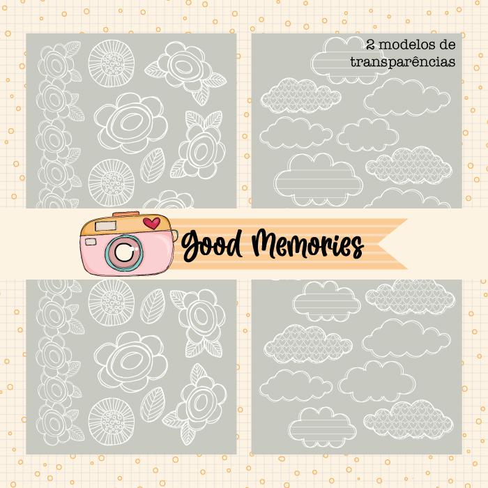 LINHA GOOD MEMORIES - KIT 2 TRANSPARÊNCIAS (nuvem e flores)  - SCRAP GOODIES