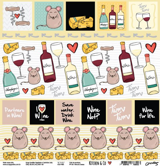 PP136 - Wine & Cheese  - SCRAP GOODIES