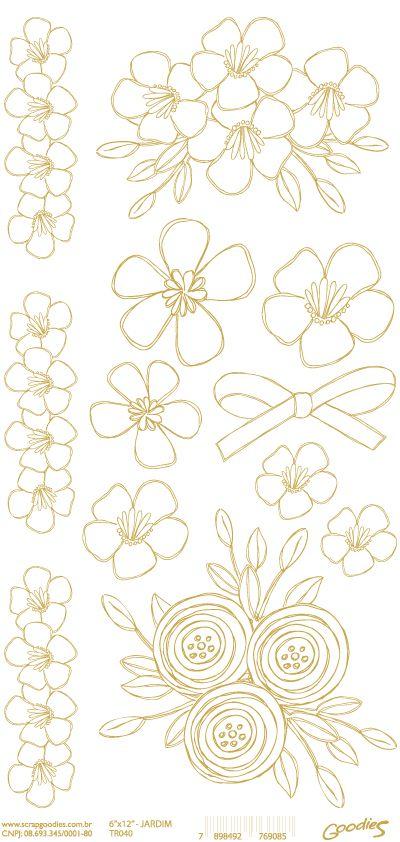 Transparência Flores - dourada - 15x30cm  - SCRAP GOODIES
