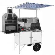 Carrinho 3 x 1 - Hot Dog, Lanche, Churrasco Luxo com Rodas Pneumáticas e Toldo/T - BLC12P/T - CEFAZ