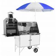 Carrinho 3x1 - Hot Dog, Lanche e Churrasco Luxo Chapa Branca com Rodas Maciças e Guarda Sol - BLC11M/GS- CEFAZ