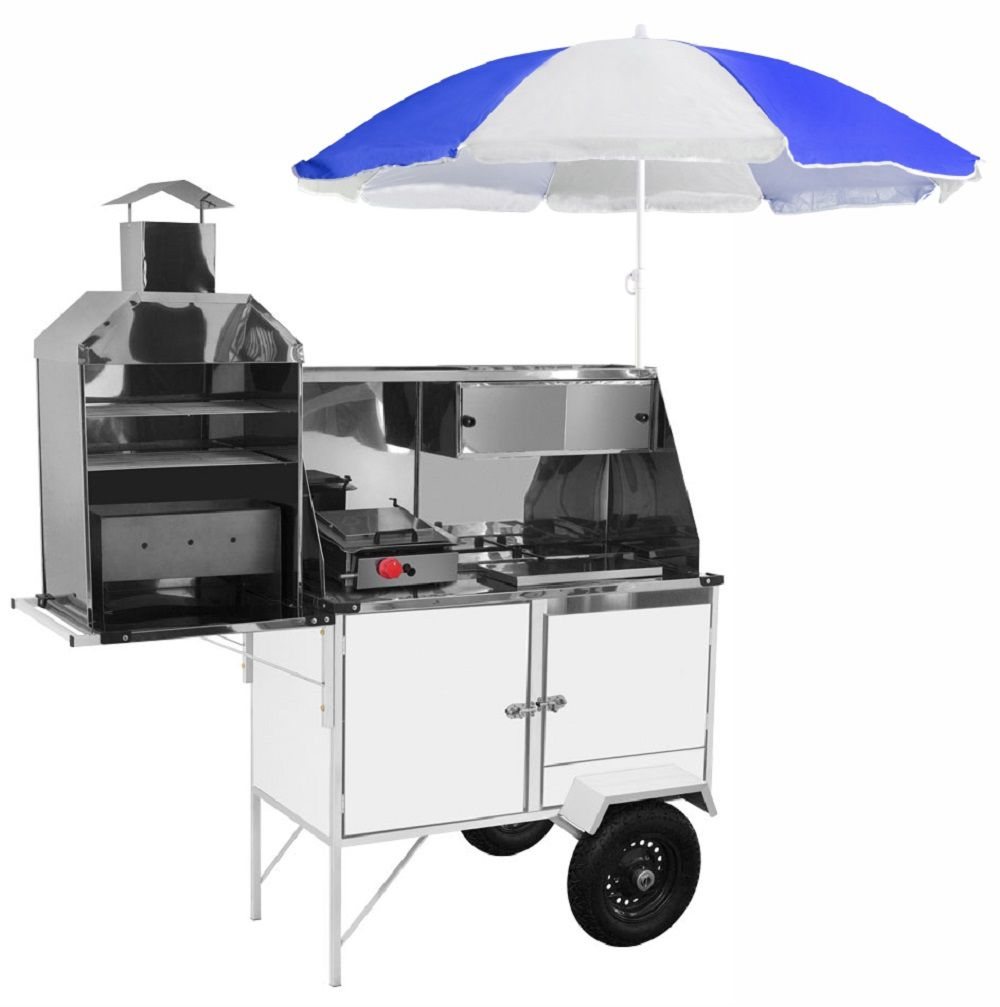 Carrinho 3x1 - Hot Dog, Lanche e Churrasco Luxo Chapa Branca com Rodas Pneumáticas e Guarda Sol - BLC12P/GS - CEFAZ