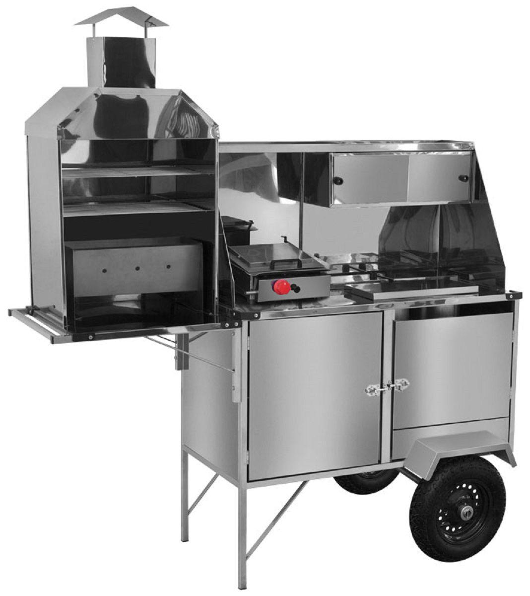 Carrinho 3x1 - Hot Dog, Lanche e  Churrasco Luxo Inox com Rodas  Pneumáticas e Guarda Sol - LC12P/GS - CEFAZ