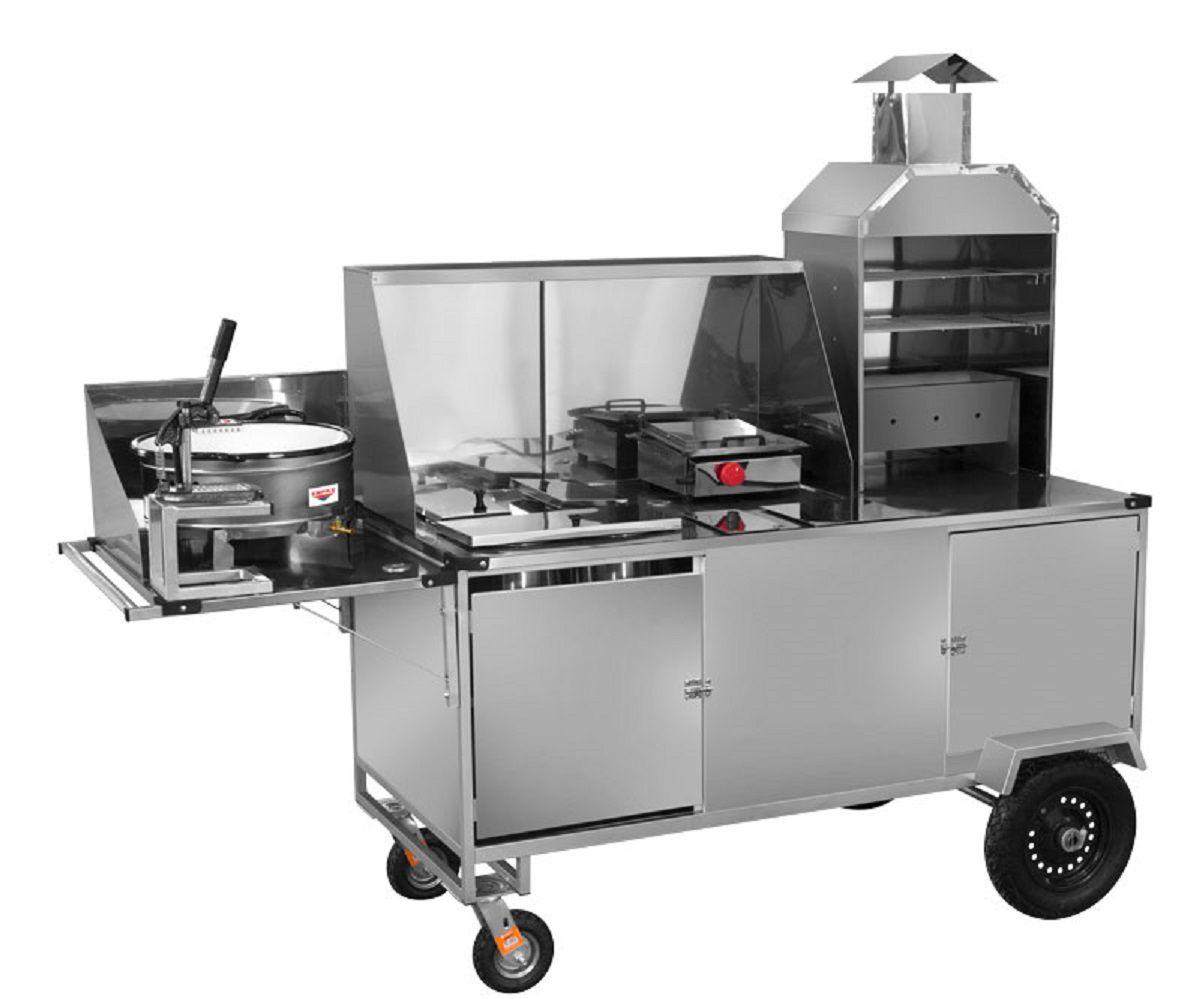 Carrinho 5 Em 1 em Inox - Churrasco/Hotdog/Lanche/Salgado/Batata- LC33P/GS - CEFAZ