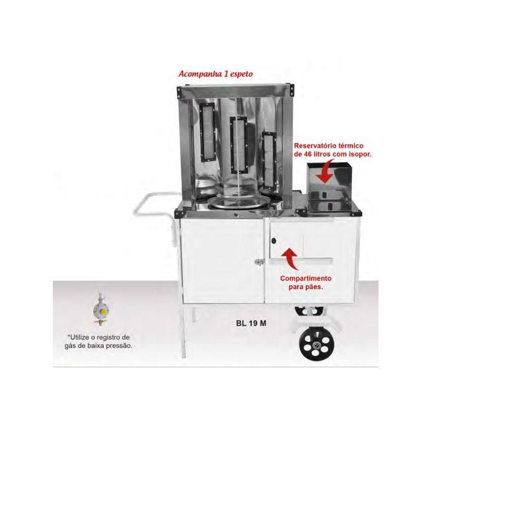 Carrinho de Churrasco Grego Chapa Branca com Rodas Maciças e Guarda Sol - BL19M/GS - CEFAZ