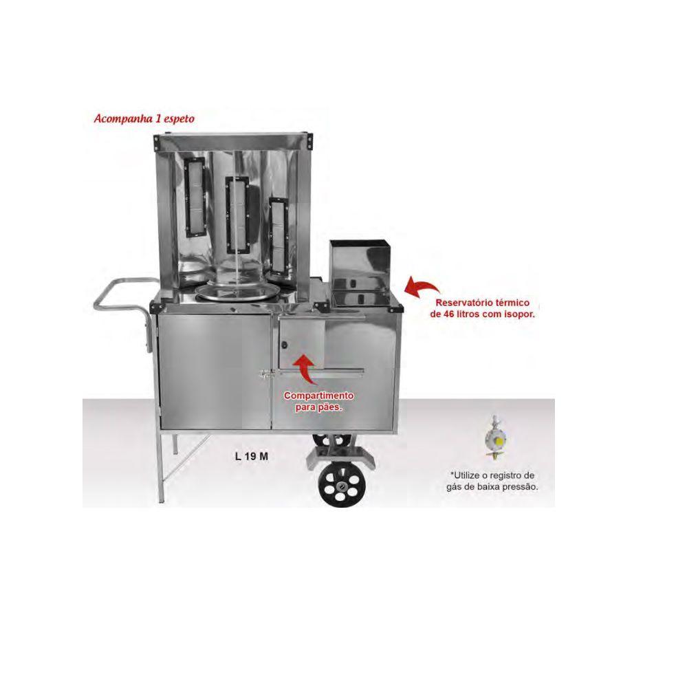 Carrinho de Churrasco Grego Inox com Rodas Maciças e Toldo - L19M/T- CEFAZ