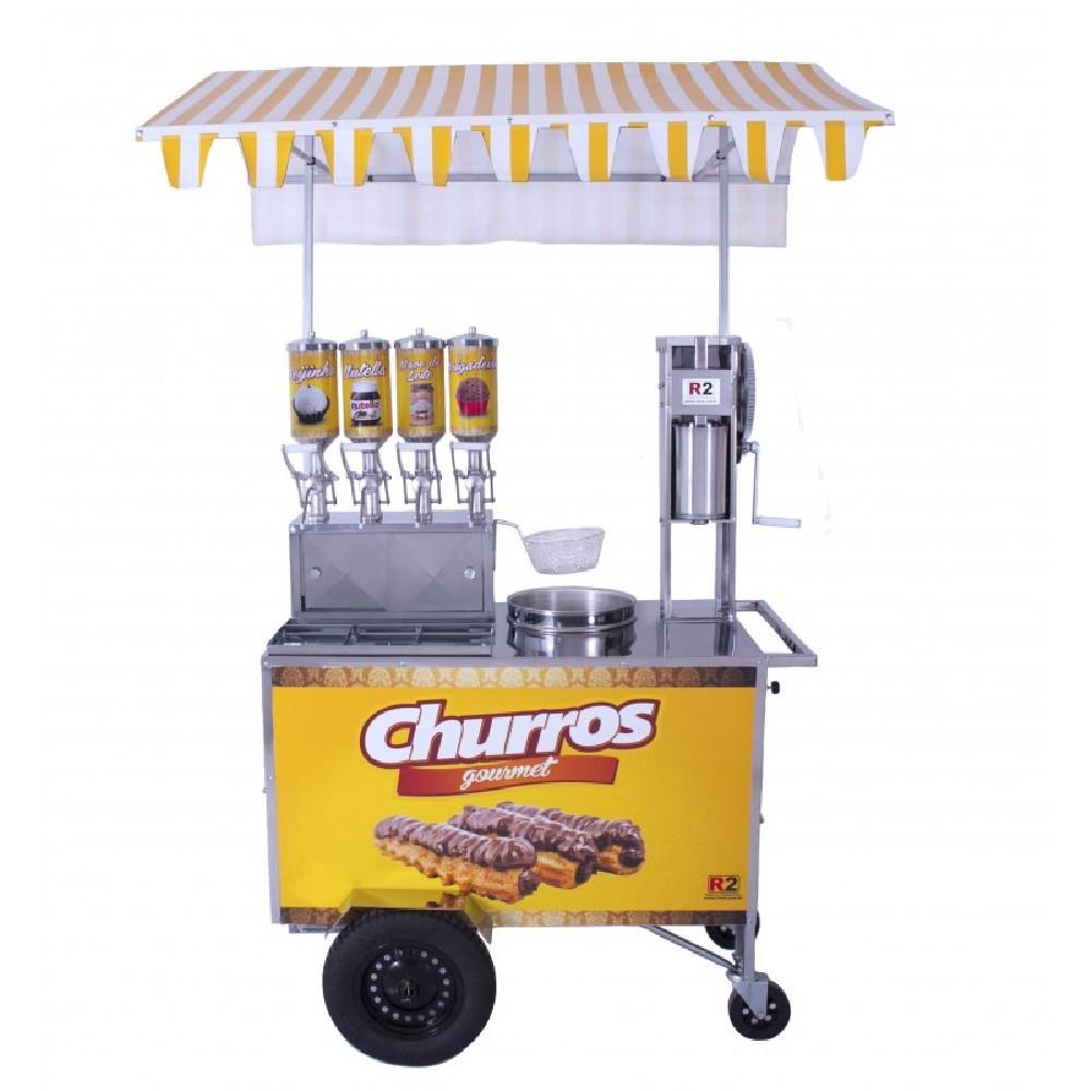 Carrinho de Churros Gourmet  Masseira Engrenagem c/ 4 Doceiras 2 L R0078 R2