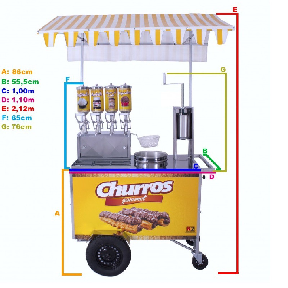 Carrinho de Churros Gourmet  Masseira Fuso Inox c/ 4 Doceiras 2 L R0076 R2