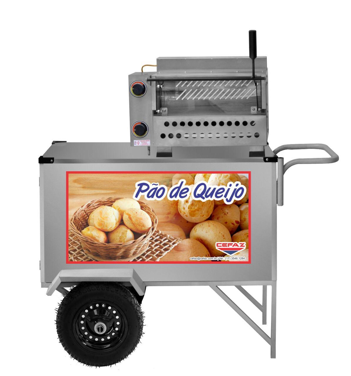 Carrinho de Pão de Queijo Inox com Rodas Pneumáticas e Guarda Sol - L39P/GS - CEFAZ