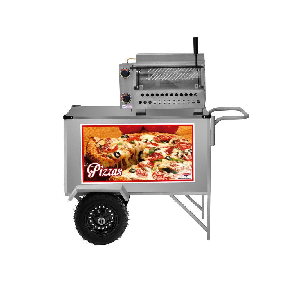 Carrinho de Pizza e Minipizza com Rodas Pneumáticas e Guarda Sol - L30P/GS - CEFAZ