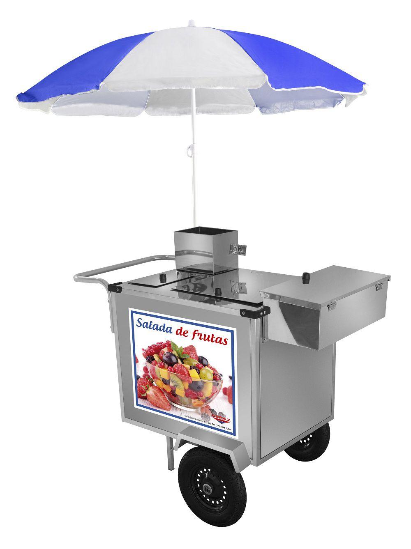 Carrinho de Salada de Fruta Luxo Inox Com Rodas Pneumáticas e Guarda Sol - L27P/GS - CEFAZ