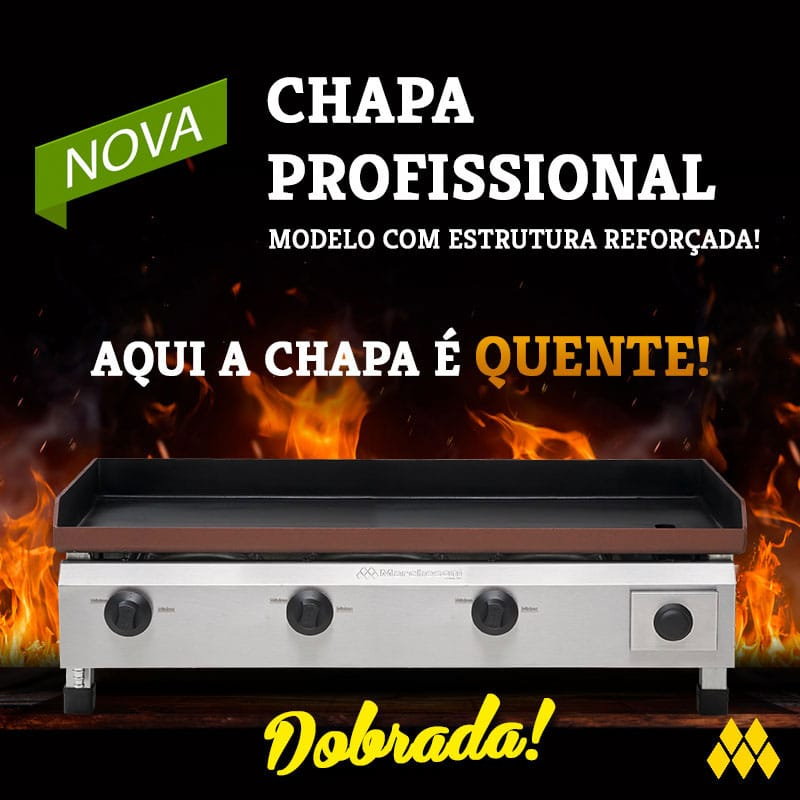 "CHAPA À GÁS - LINHA ""PROFISSIONAL""  -  3 QUEIMADORES C/ GAVETA - 80 X 50 CM CH.2.083 MARCHESONI"