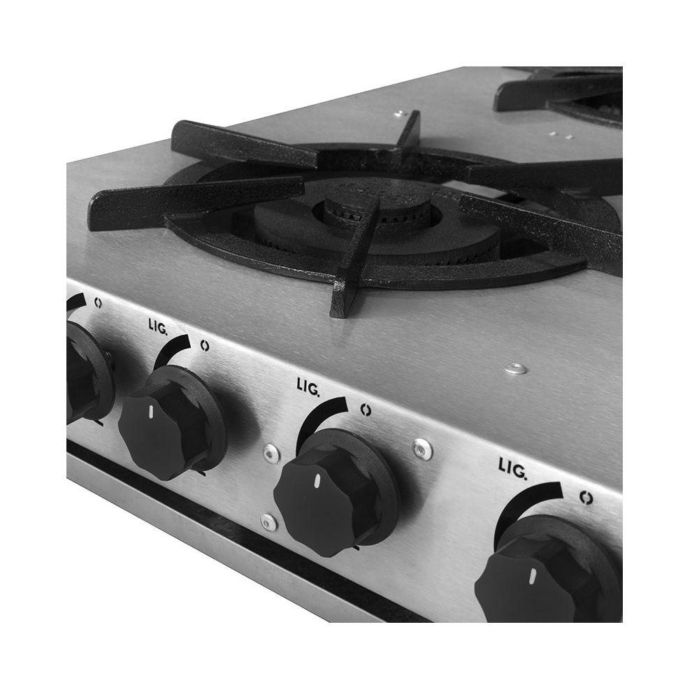 Fogão Industrial Inox Baixa Pressão Linha Lustro 4 Bocas Simples FBLU4B.859 KenoK