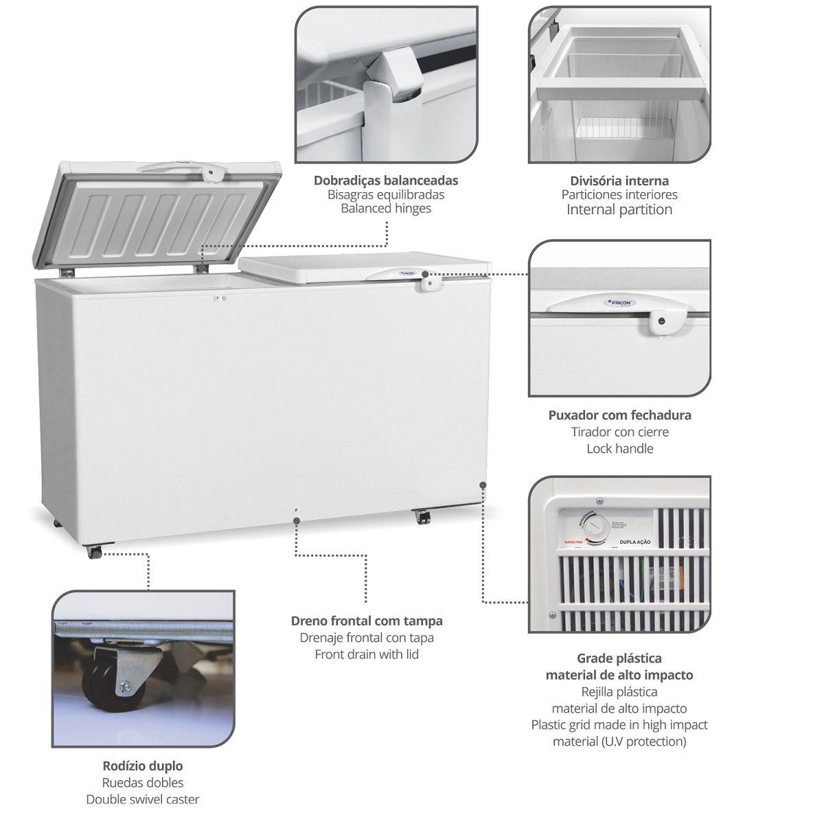 Freezer Horizontal Conservador de Dupla Ação 411 L  HCED-411 127v Fricon